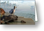 3d Greeting Cards - Dodo Afternoon Greeting Card by Daniel Eskridge