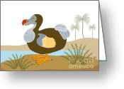 Extinct Greeting Cards - Dodo Bird Raphus Cucullatus Retro Greeting Card by Aloysius Patrimonio