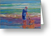 Playing On Beach Greeting Cards - Dog Beach Play Greeting Card by Thomas Bertram POOLE