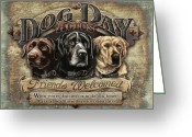 Yellow Dog Greeting Cards - Dog Day Acres Sign Greeting Card by JQ Licensing
