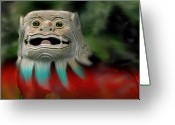 Transformative Art Greeting Cards - Dog Face Greeting Card by Lisa Redfern
