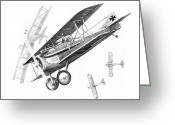 Plane Drawings Greeting Cards - Dog Fight Greeting Card by Murphy Elliott