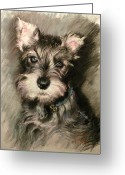 Pet Pastels Greeting Cards - Dog in Blue Collar Greeting Card by Ylli Haruni