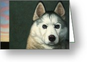 Blue Eyes Greeting Cards - Dog-Nature 9 Greeting Card by James W Johnson