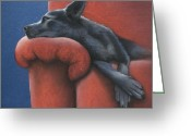 Blue Art Pastels Greeting Cards - Dog Tired Greeting Card by Cynthia House