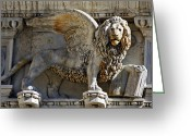 St Marc Greeting Cards - Doge s Palace Lion of St Mark Venice Greeting Card by Cedric Darrigrand