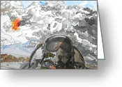 Plane Drawings Greeting Cards - Dogfight Greeting Card by D K Betts