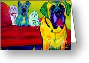 Acrylic Framed Greeting Cards - Dogs - Droolers Get The Floor Greeting Card by Alicia VanNoy Call