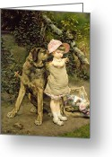 Doll Painting Greeting Cards - Dogs Company Greeting Card by Edgard Farasyn