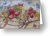 Red Leaves Painting Greeting Cards - Dogwood Berries Greeting Card by Sari Sauls