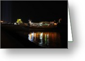 Illuminations Greeting Cards - Doha Corniche at night Greeting Card by Paul Cowan
