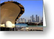 Arabia Greeting Cards - Doha fountain skyline and harbour Greeting Card by Paul Cowan