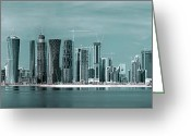 Red Bay Greeting Cards - Doha in a different light Greeting Card by Paul Cowan