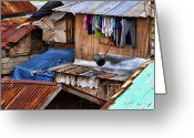 Cebucity Greeting Cards - Doing the laundry Greeting Card by James Bo Insogna
