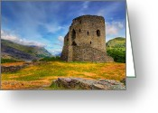 Edwardian Greeting Cards - Dolbadarn Castle  Greeting Card by Adrian Evans