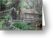 Washington Pastels Greeting Cards - Dolby Water Wheel Greeting Card by Terri Thompson
