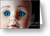 Kid Photo Greeting Cards - Doll Eyes Greeting Card by Dan Holm