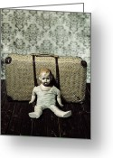 Bizarre Greeting Cards - Doll With A Suitcase Greeting Card by Joana Kruse