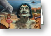 Surreal Tapestries Textiles Greeting Cards - Dolly in Dali-Land Greeting Card by James W Johnson