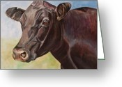 Country Art Greeting Cards - Dolly the Angus Cow Greeting Card by Toni Grote