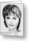 Singer Songwriter Greeting Cards - Dolores O Riordan   Cranberries Greeting Card by Liam O Conaire
