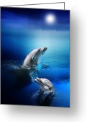 Dolphin Digital Art Greeting Cards - Dolphin Delight Greeting Card by Julie L Hoddinott