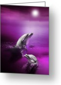 Dolphin Digital Art Greeting Cards - Dolphin Delights Greeting Card by Julie L Hoddinott