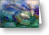 The Art Of Carol Cavalaris Greeting Cards - Dolphin Dream Greeting Card by Carol Cavalaris