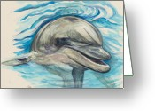 Sea Animal Greeting Cards - Dolphin Greeting Card by Morgan Fitzsimons