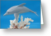 Ocean Sculpture Greeting Cards - Dolphin on Coral Greeting Card by Jack Murphy