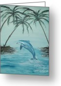 Seraph Greeting Cards - Dolphin Play Greeting Card by Tamara Seraph