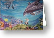 Reef Fish Greeting Cards - Dolphin Pod Greeting Card by Diann Baggett