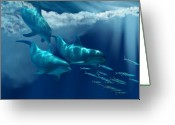 Sea Creature Greeting Cards - Dolphin World Greeting Card by Corey Ford