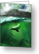 Mermaid Print Greeting Cards - Dolphins Greeting Card by Svetlana Sewell