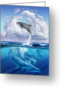 Jumping Digital Art Greeting Cards - Dolphonic Symphony Greeting Card by Jerry LoFaro