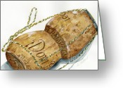Dom Perignon Greeting Cards - Dom Perignon Cork Greeting Card by Sheryl Heatherly Hawkins