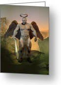Sacred Digital Art Greeting Cards - Dominant Angel Greeting Card by Joaquin Abella Ojeda