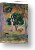 West Indian Greeting Cards - Dominican Landscape Greeting Card by Paul Gauguin