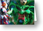 Sharp Teeth Greeting Cards - Dominican Republic Carnival Parade Green Devil Mask Greeting Card by Heather Kirk
