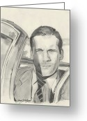 Celebrity Drawings Greeting Cards - Don Draper Greeting Card by Jason Kasper