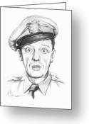 Pencil Drawing Greeting Cards - Don Knotts Greeting Card by Murphy Elliott