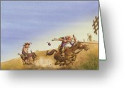 Illustration Greeting Cards - Don Quixote Greeting Card by Andy Catling