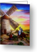 Dominica Alcantara Greeting Cards - Don Quixotes Windmill Adventure Greeting Card by Dominica Alcantara