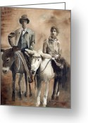 Monotone Painting Greeting Cards - Donkey Ride Greeting Card by Arline Wagner