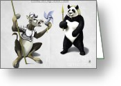 Panda Greeting Cards - Donkey Xote and Sancho PAnda Greeting Card by Rob Snow