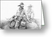 Cowboy Sketches Greeting Cards - Dont Look Back Greeting Card by Jack Schilder