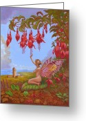 Fushia Painting Greeting Cards - Doolin Fairy Greeting Card by Tomas OMaoldomhnaigh