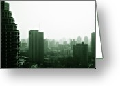 Birds Eye View Greeting Cards - Doomsday Shanghai Greeting Card by Christine Till
