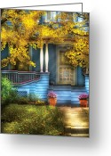 Autumn Scenes Greeting Cards - Door - Gorgeous Victorian  Greeting Card by Mike Savad
