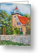 Lakes Pastels Greeting Cards - Door County Lighthouse Greeting Card by Pat Olson